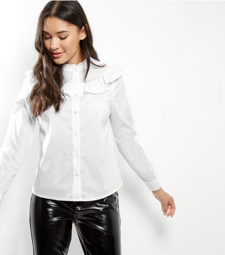 White Yoke Frill Trim Shirt  | New Look