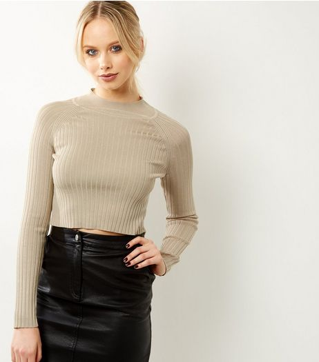 Cameo Rose Stone Ribbed Funnel Neck Jumper | New Look