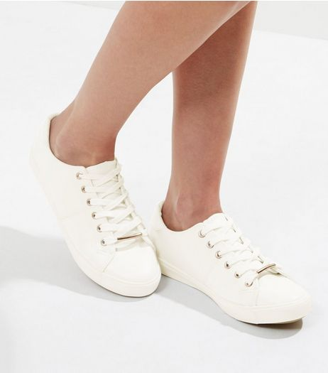 Wide Fit White Metal Detail Trainers | New Look