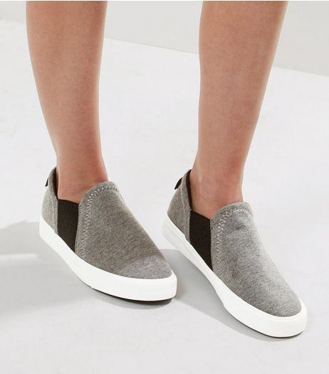 Wide Fit Grey Contrast Panel Slip On Plimsolls | New Look