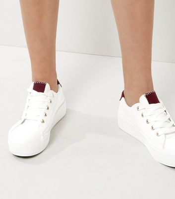 Wide Fit White Contrast Panel Trainers | New Look