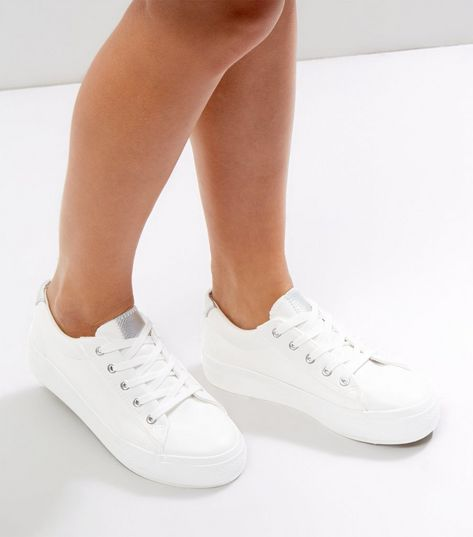 Wide Fit White Contrast Metallic Trim Trainers | New Look