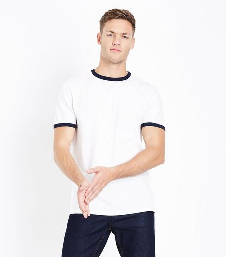 Cream Contrast Trim T-Shirt | New Look