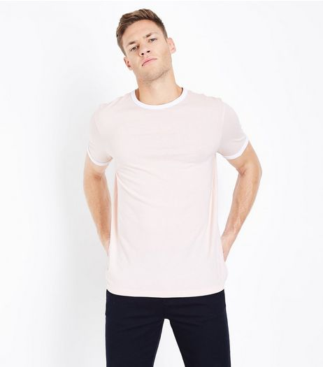Pink Contrast Trim T-Shirt | New Look