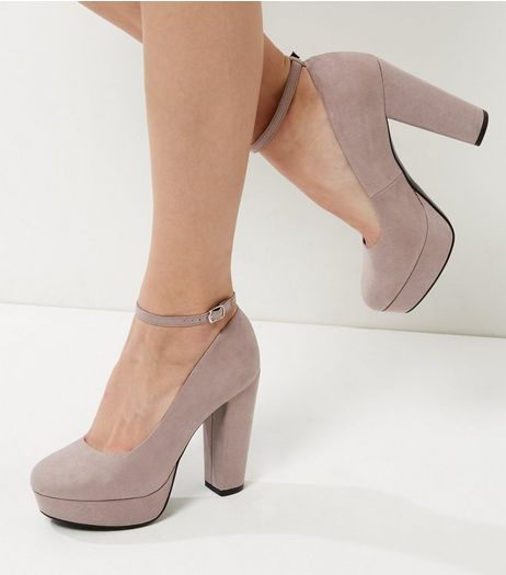 Wide Fit Light Grey Suedette Platform Heels | New Look