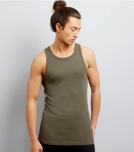 Khaki Ribbed Cotton Vest | New Look