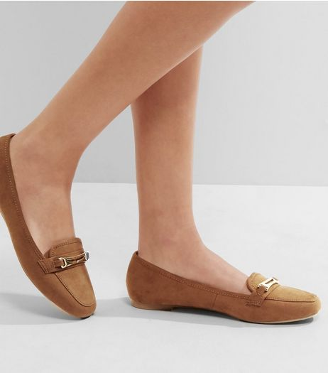 Tan Suedette Metallic Trim Loafers | New Look