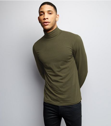 Khaki Roll Neck Long Sleeve Top | New Look