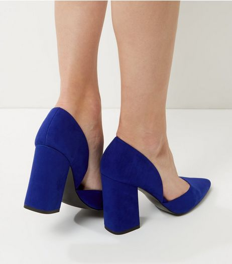 Wide Fit Bright Blue Cut Out Block Heels | New Look