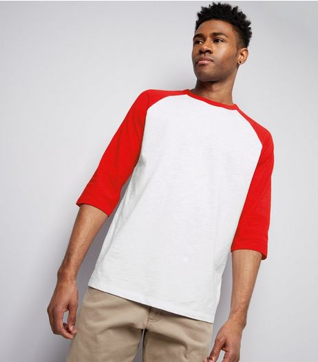 Red 3/4 Raglan Sleeve T-Shirt | New Look