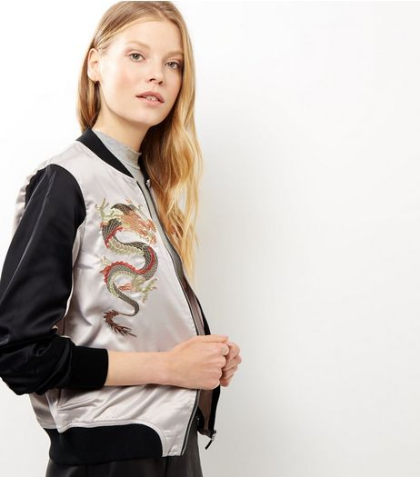 Apricot Stone Dragon Print Bomber Jacket | New Look