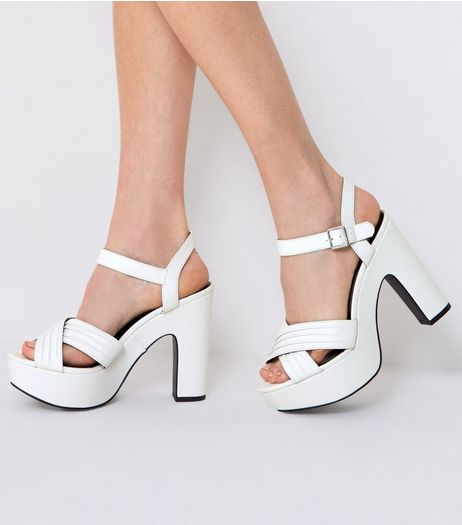 Wide Fit White Cross Front Platform Sandals | New Look