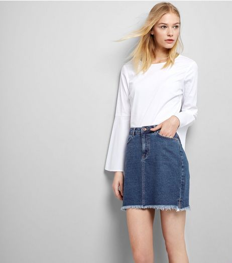 Blue Fringed Hem Denim Skirt  | New Look