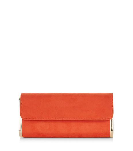 Bright Orange Metal Trim Clutch Bag  | New Look