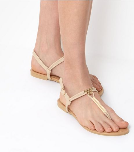 Wide Fit Cream Toe Post Metal Bar Sandals | New Look