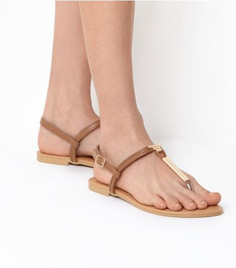 Wide Fit Tan Toe Post Metal Bar Sandals | New Look