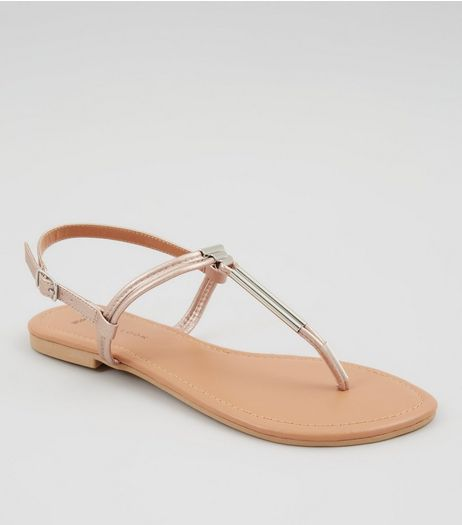 Wide Fit Rose Gold Toe Post Metal Bar Sandals | New Look