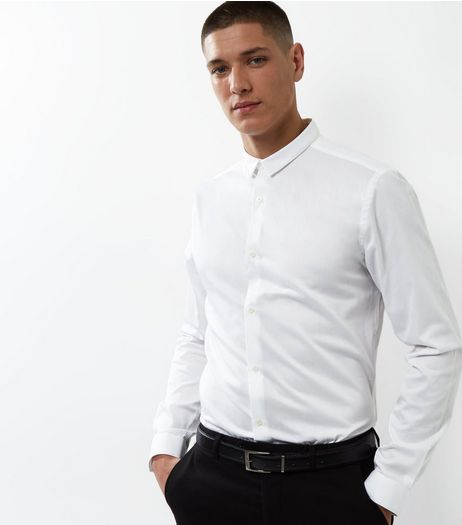 White Crossgrain Trim Long Sleeve Shirt | New Look