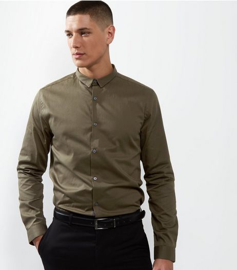 Khaki Crossgrain Trim Long Sleeve Shirt | New Look