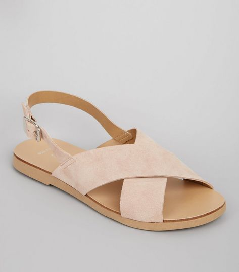 Wide Fit Cream Leather Cross Strap Sandals | New Look