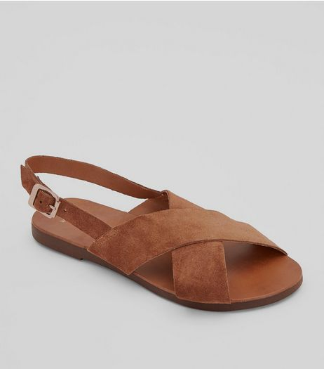 Wide Fit Tan Leather Cross Strap Sandals | New Look