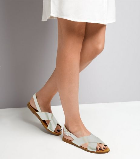 Wide Fit Silver Leather Cross Strap Sandals | New Look