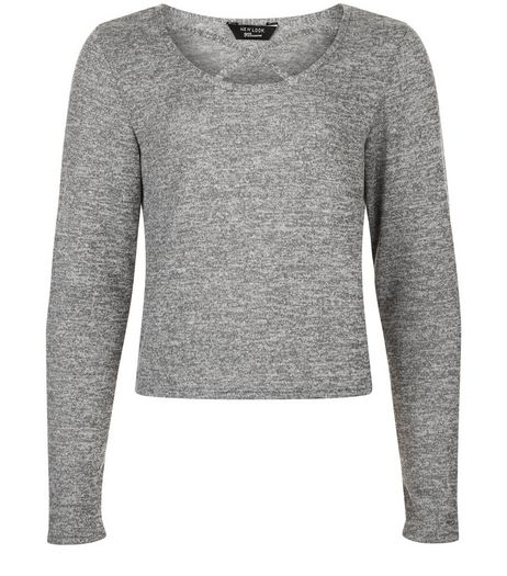 Teens Grey Cross Front Long Sleeve Top | New Look