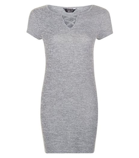 Teens Grey Lattice Front Bodycon Dress | New Look