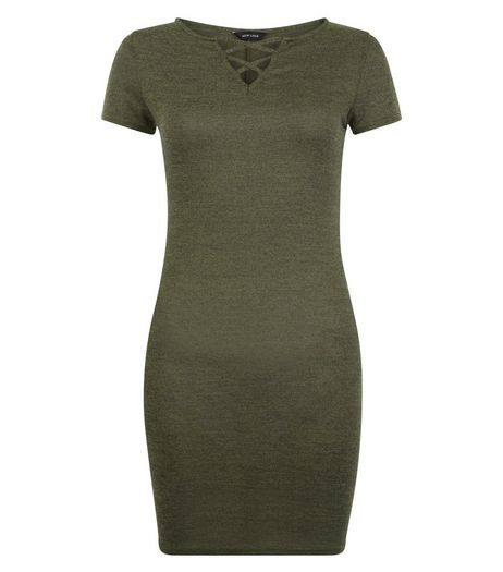 Khaki Short Sleeve Lattice Front Bodycon Dress | New Look