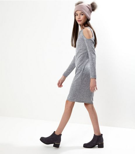 Teens Grey Fine Knit Cold Shoulder Bodycon Dress | New Look
