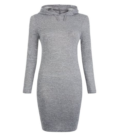 Teens Grey Fine Knit Hooded Bodycon Dress | New Look