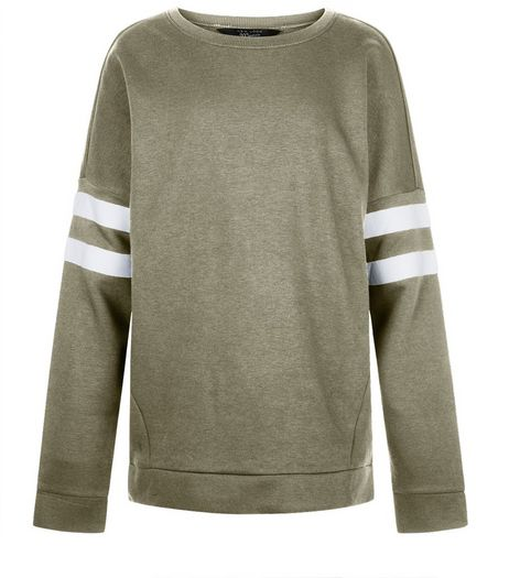 Teens Khaki Stripe Sleeve Longline Sweater | New Look