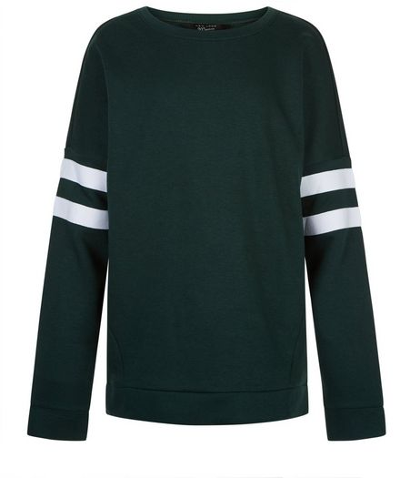 Teens Dark Green Stripe Sleeve Longline Sweater | New Look