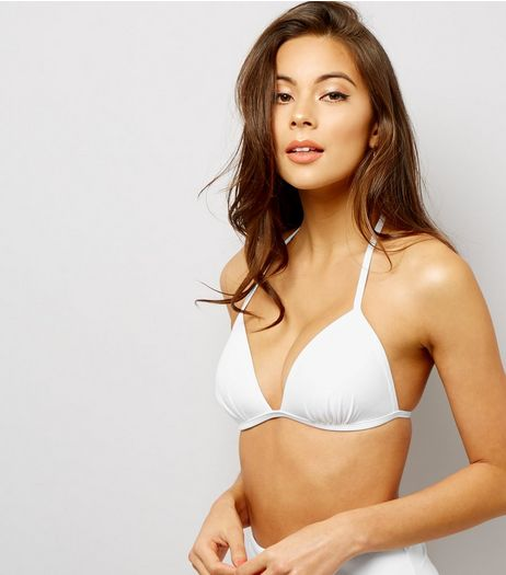 White Moulded Triangle Bikini Top | New Look
