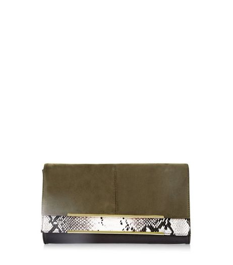 Khaki Suedette Double Foldover Snakeskin Panel Clutch | New Look