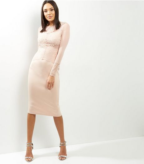 AX Paris Shell Pink Lace Long Sleeve Midi Dress | New Look