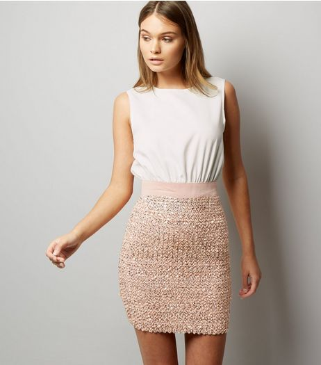 AX Paris Pink 2 in 1 Sequin Skater Dress | New Look