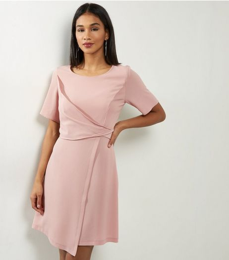 Shell Pink Draped Wrap Front Short Sleeve Dress | New Look