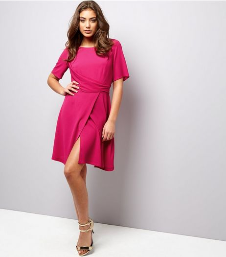 Bright Pink Draped Wrap Front Short Sleeve Dress | New Look