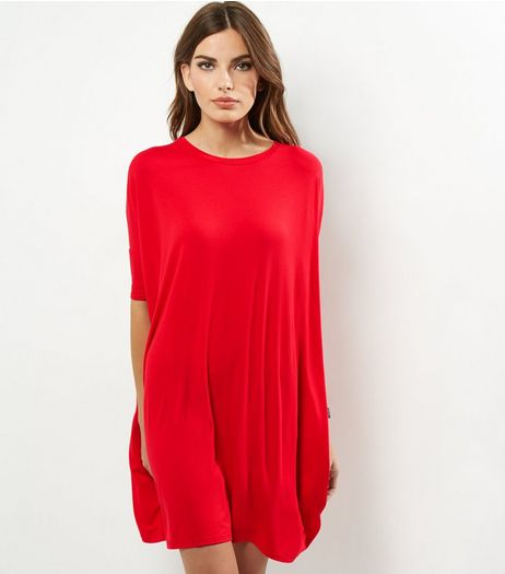 Red Oversized T-Shirt Dress | New Look