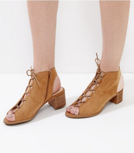 Tan Suedette Lace Up Peep Toe Ghillie Heels | New Look