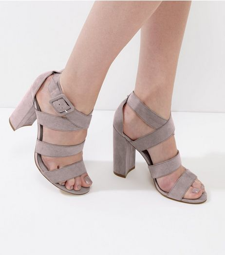 Grey Suedette Wide Multi Strap Heels | New Look
