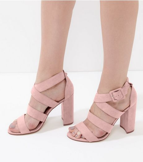 Pink Suedette Wide Multi Strap Heels | New Look