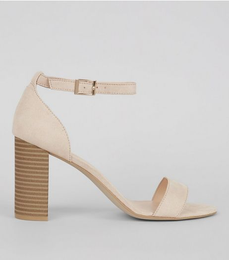 Cream Suedette Ankle Strap Block Heels | New Look