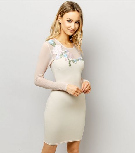 Shell Pink Mesh Panel Floral Embroidered Bodycon Dress  | New Look