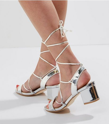 Silver Mirror Tie Up Ankle Strap Sandals | New Look