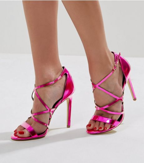 Pink Metallic Multi Strap Heeled Sandals | New Look