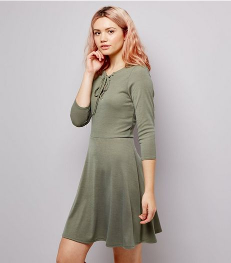 Khaki Lattice Front 3/4 Sleeve Skater Dress | New Look