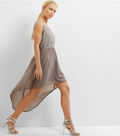 Mela Silver Metallic Dip Hem Dress | New Look