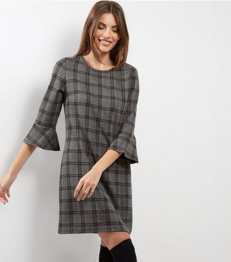 Grey Check Bell Sleeve Tunic | New Look